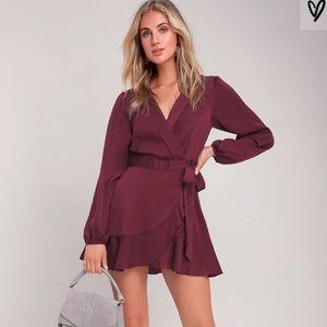 NEW Lulus Purple Wrap Dress with Long Sleeves